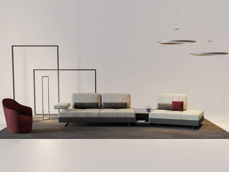 MONY MOON Wide Corner Sofa with Table and Pouf